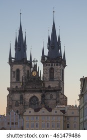 Prague, the Czech Republic - Towers of the Tyn Church at Sunrise