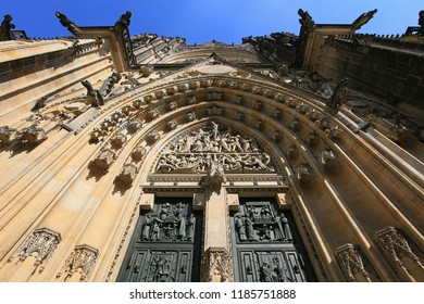 Prague, Czech Republic, view of St. Vitus Gothic Catholic Cathedral in Prague Castle
