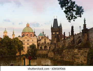 Prague, Czech Republic with views of Charles Bridge, Bridge Tower, Karlova Street, Klementinum, St Salvator Church