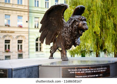 Prague, Czech Republic Winged Lion statue in the centre of Prague or Praha in the Czech Republic dedicated to the Czechoslovak airmen who served in the Royal Air Force. September 17th 2017