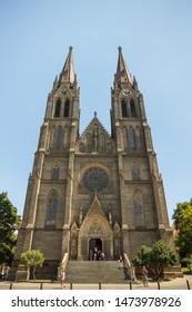 Prague, Czech Republic,23 July 2019: Church of Saint Ludmila at Namesti miru or Peace Square