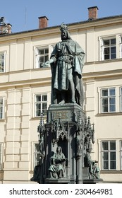 PRAGUE, CZECH REPUBLIC/EUROPE - SEPTEMBER 24 : St Statue of King Charles IV at the entrance to the Charles Bridge in Prague on September 24, 2014