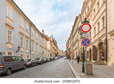 Prague, Czech Republic-February 01, 2019. View of the street in historical part of the famous old Prague town on February 01, 2019.