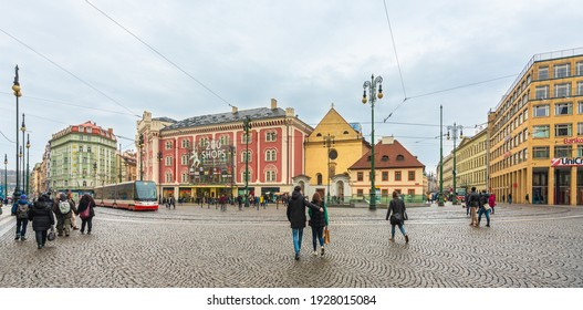 """Prague, Czech Republic-February 02, 2019. View of the street with """"Palladium"""" the biggest, modern shopping mall in the heart of Prague on February 02, 2019 at Old Town."""