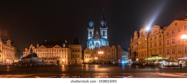 Prague, Czech Republic-February 03, 2019. Night view scene of Famous Old Town Square with its historical buildings belonging to various architectural styles in the Old Town quarter of Prague.