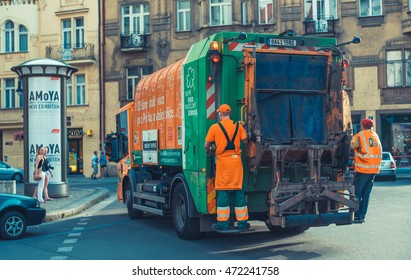 PRAGUE, CZECH REPUBLIC-JUNE 2016 garbage truck on the street in Prague