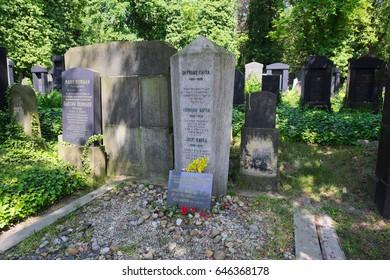 Prague, Czech Republic-May 23, 2017: Grave of famous writer Franz Kafka on new Jewish cementery