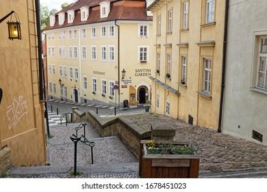 Prague, Czech Republic-May 9, 2019: Slope form Nerudova street near Prague castle, center of city.