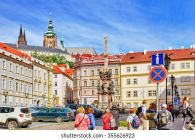 PRAGUE, CZECH REPUBLIC-SEPTEMBER 5, 2015: Malostranske namesti-main square of Prague's Mala Strana(Lesser Town of Prague).