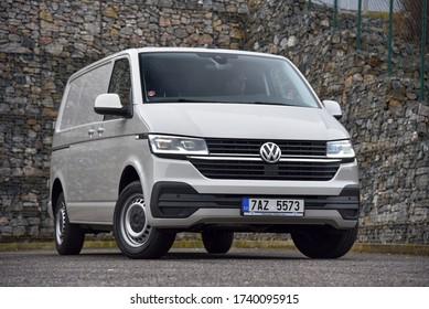 Prague, Czechia, 01-08-2020, Volkswagen Transporter – box body. Front of the car.