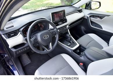 Prague, Czechia, 06-04-2019, Toyota RAV4. Interior - dashboard.
