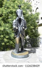 PRAGUE, CZECHIA - JULY 1, 2018: Franz Kafka Statue in Prague