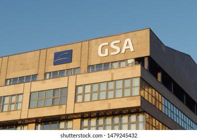 Prague, Czechia - June 22, 2017: GSA Agency – Prague headquarters. European Global Navigation Satellite System (GNSS) for Galileo (satellite navigation) postioning system. Also called European GPS.