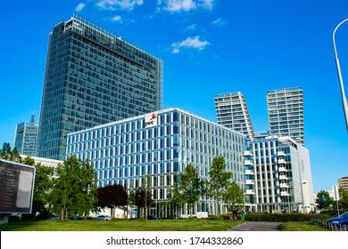Prague, Czechia - May 26 2020: the highrise buildings in Pankrac business district with City Tower, a large tall office building on the left, and V Tower, a residential skyscraper on the right