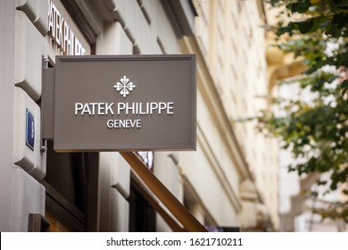 PRAGUE - CZECHIA - NOVEMBER 1, 2019:  Patek Philippe logo on their jewelry boutique in Prague. Patek Philippe is a Swiss luxury watchmaker famous for chronographs and watches.