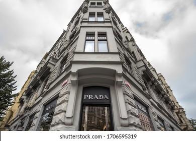 PRAGUE, CZECHIA - NOVEMBER 1, 2019: Prada logo in front of their main boutique for Prague. Prada is a luxury fashion designer, manufacturer and retailer from Italy.