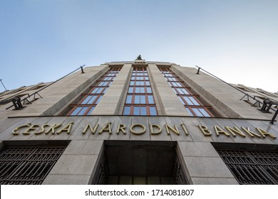 PRAGUE, CZECHIA - NOVEMBER 1, 2019:  Ceska Narodni Banka CNB logo on their headquarters in Prague. CNB, Or Czech National Bank, is Czechia's Central bank in charge of the currency & the economy.