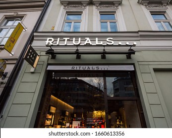 PRAGUE, CZECHIA - NOVEMBER 2, 2019: Rituals Cosmetics logo in front of their shop for Prague. Rituals is a Dutch company specialized in Cosmetics, skincare and perfumes.