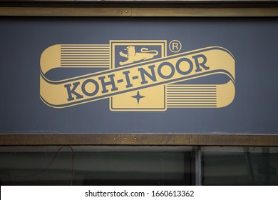PRAGUE, CZECHIA - NOVEMBER 2, 2019: Koh I Noor Hardtmuth logo on their store in Prague. Koh-i-Noor is a Czech producer of stationery products, writing instruments and office supplies.