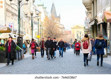 Prague, Czechia - November, 23, 2017: street in a center of Prague