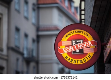 PRAGUE, CZECHIA - NOVEMBER 3, 2019: Koh I Noor Hardtmuth logo on their store in Prague. Koh-i-Noor is a Czech producer of stationery products, writing instruments and office supplies.