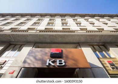 PRAGUE, CZECHIA - OCTOBER 31, 2019: KB Bank, or Komercni banka logo in front of their office for Prague. Komercni Banka is a Czech Bank, the local branch of the French Group Spociete General.