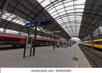 Prague, Czech-May 9, 2019: Prague Main Station is the largest railway station in Prague, Czech Republic. It opened in 1871 as Franz Josef Station, after Franz Joseph I of Austria.