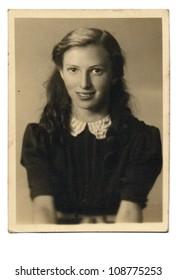 PRAGUE, CZECHOSLOVAK REPUBLIC, CIRCA 1950 - young woman - circa 1950