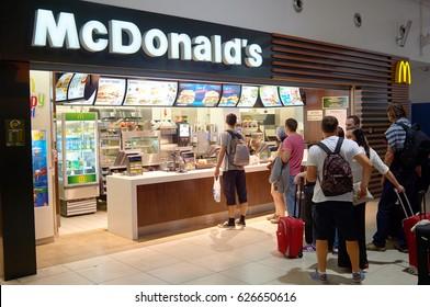 PRAGUE, CZECK REPUBLIC - AUGUST 16, 2015: counter service in a McDonald's restaurant.