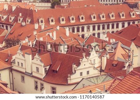 Prague Czezh Republic Scenic Autumn Aerial Stock Photo (Edit