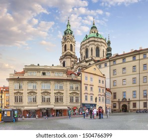 Prague, Czhech Republic - July 7, 2018: View of the St. Nicholas Cathedral from the Malostranske Namesti.