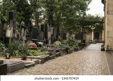 Prague, Czhech Republic - October 01, 2018: Vysehrad cemetery in a cloudy day