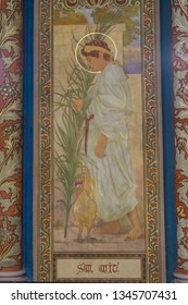 Prague, Czhech Republic - October 01, 2018: Fresco of Saint Wit in Saint Peter and Paul Basilica, Vysehrad