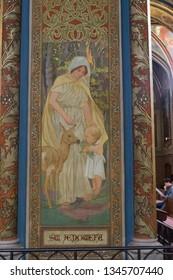 Prague, Czhech Republic - October 01, 2018: fresco of Saint Genevieve in Saint Peter and Paul Basilica, Vysehrad