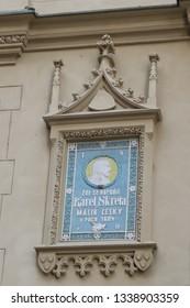 Prague, Czhech Republic - September 30, 2018: plaque un the house, where Karel Shkreta was born. Karel Shkreta is famous czech portrait painter
