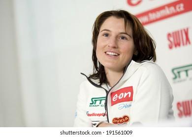 PRAGUE - DECEMBER 1: Czech freestyle skier Nikola Sudova during press conference in Prague, Czech republic, December 1, 2010.