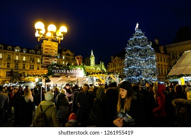 PRAGUE - DECEMBER 14  : Christmas markets in Prague, Czech republic, December 14, 2018