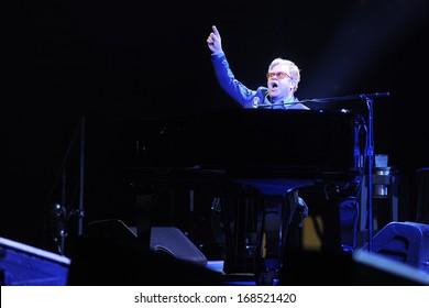 PRAGUE - DECEMBER 18: Famous British musician Elton John during his performance in Prague, Czech republic, December 18, 2013.