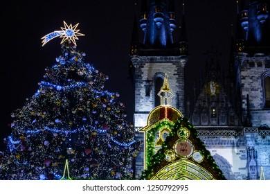PRAGUE - DECEMBER 2 : Opening of Christmas markets in Prague, Czech republic, December 2, 2018