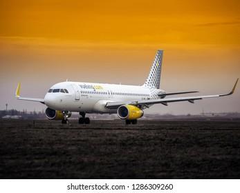 PRAGUE - DECEMBER 27, 2017: Vueling Airlines Airbus A320 at Vaclav Havel airport in Prague (PRG) DECEMBER 27, 2017 in Prague, Czech Republic.