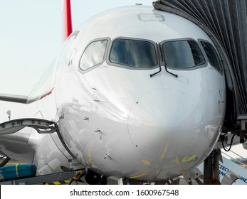 PRAGUE - DECEMBER 29, 2019: Swiss Air Airbus A220  at Vaclav Havel Airport Prague (PRG), DECEMBER 29, 2019 in Prague, Czech Republic.Swiss is the national airline of Switzerland.