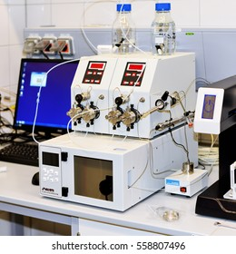 PRAGUE, December 3, 2016: Semi-preparative chromatograph with modular pumps, UV-detector and fraction collector. HPLC. Institute of Organic and Biochemistry Academy of Sciences the Czech Republic