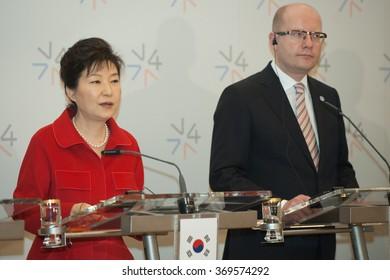 PRAGUE - DECEMBER 3: South Korean President Park Geun-hye, left, and Czech Republic Prime Minister Bohuslav Sobotka attend a news conference in Prague, Czech Republic, December 3, 2015.