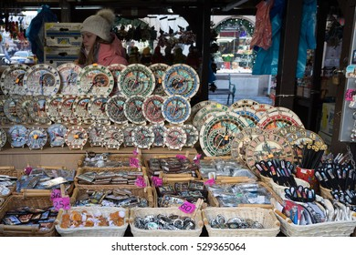 PRAGUE - December 3: Souvenir shop at famous Havels Market in first week of Advent in Christmas . Market has been continuously open since 1232,  December 3, 2016 in Prague, Czech Republic.