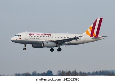 PRAGUE - DECEMBER 30: A320 Germanwings lands to PRG in Prague, Czech Republic on December 30, 2014. Germanwings  is a German low-cost airline, which is  wholly owned by Lufthansa.
