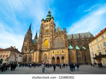 PRAGUE - DECEMBER 31: Saint Vitus Cathedral facade on December 31, 2012 in Prague. This cathedral is an excellent example of Gothic architecture, the biggest and most important church in the country