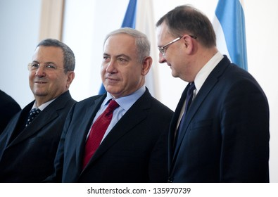 PRAGUE - DECEMBER 5: From left Israeli secretary of defense Ehud Barak, Israeli premier Benjamin Netanjahu and Czech premier Petr Necas during meeting in Prague, Czech republic, December 5, 2012