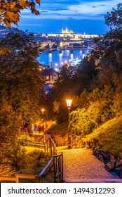 Prague evening. View of Prague Castle and Vltava river from Vysehrad staircase, Prague, Czech Republic.