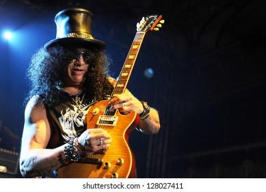 PRAGUE - FEBRUARY 11: British legendary guitarist Saul Hudson alias Slash during performance in Prague, Czech republic, February 11, 2013