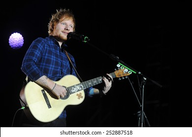 PRAGUE - FEBRUARY 12: British singer Ed Sheeran during his performance in Prague, Czech republic, February 12, 2015.